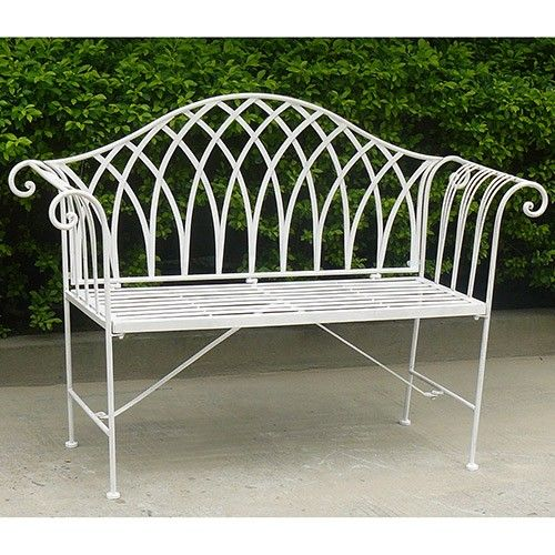 Lavinia Wrought Iron Bench Outdoor Furniture Milan Direct