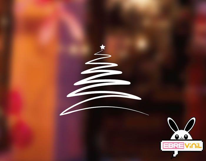 Vinilo adhesivo con un moderno rbol de navidad para la - Cristales para paredes ...