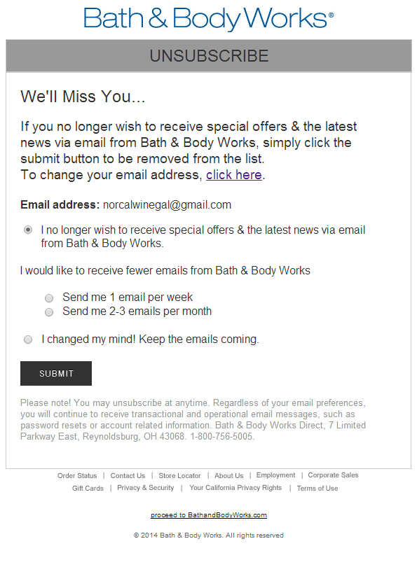 Bath Body Works Email Preference Opt Down Form