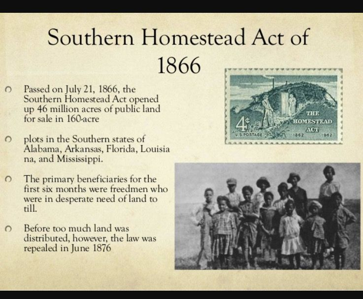 Southern Homestead Act Chapter 12 Homestead Act African