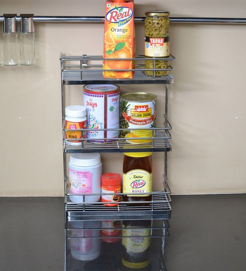 Buy Stainless Steel 3 Tier Kitchen Shelf 12 X 6 Inches By Klaxon Online Kitchen Shelves Kitchen Shelves Discontinued Pepperfry Product Tidy Kitchen Spice Rack Shelves