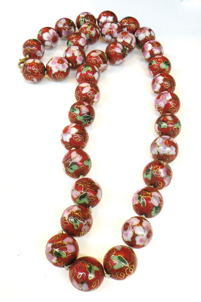 Chinese Export Vintage Red Cloisonne Beaded Necklace /122