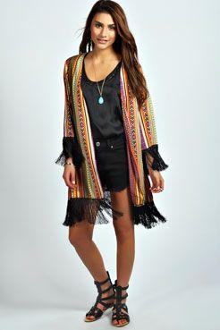 Corah Aztec Tassel Kimono