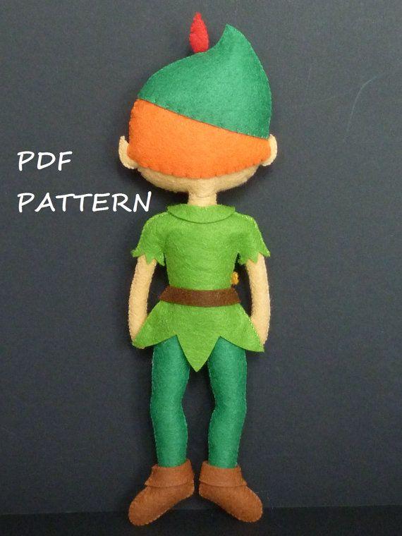 PDF pattern to make a felt Peter Pan | bonecas | Pinterest ...