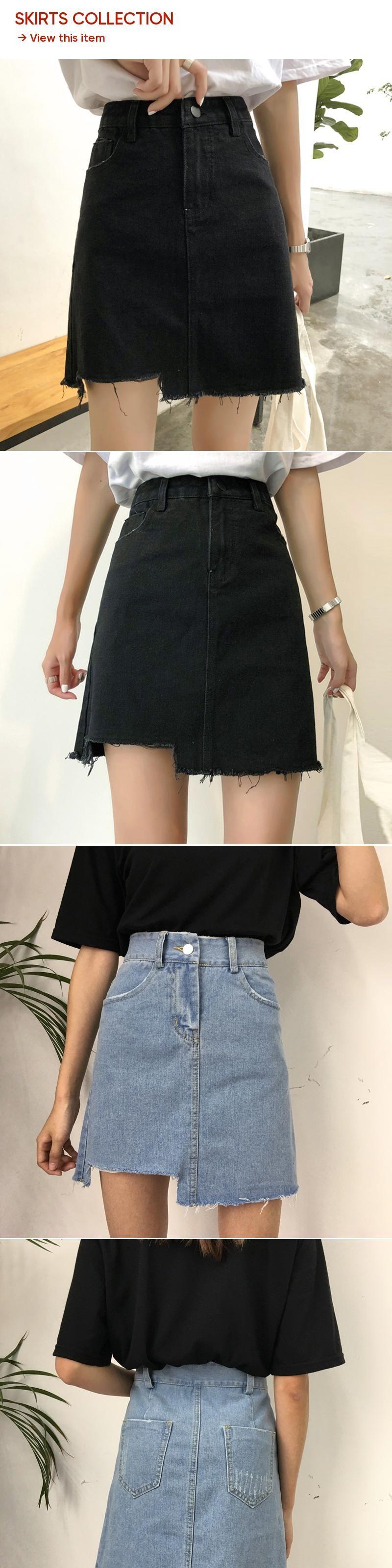 f25983856b2 Kpop Harajuku 2018 New All-matched Casual Jeans Skirt Summer Fashion High  Waist Skirts Womens Pockets Button Denim Skirt Female
