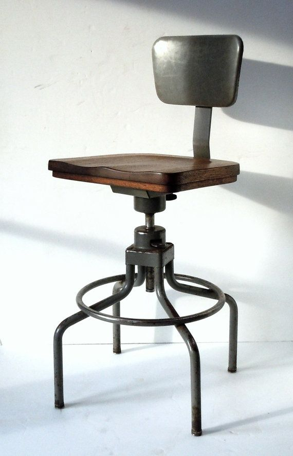 Incroyable Vintage Industrial Work Stool / Metal And Wood Chair / HON / Adjustable  Height And Swivel