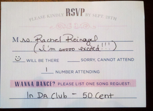 RSVP cards with song choice on Fun wedding, Wedding
