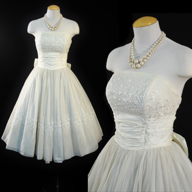 Vintage 1950s EMBROIDERED Tea Length Prom Wedding Bridal