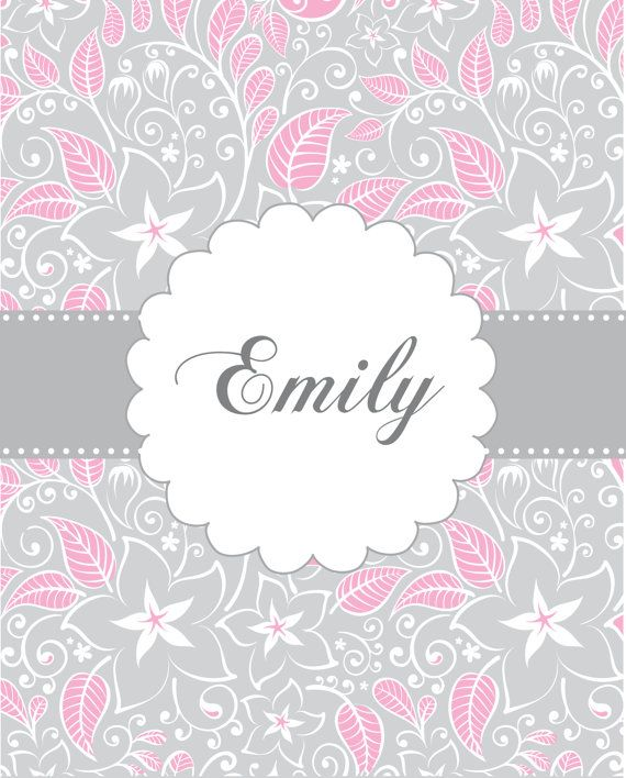 Personalized Childrens Art Pink Gray Kids Wall Name Prints For Girls Baby Nursery Room Decor