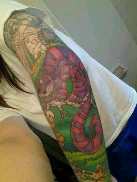 My cheshire cat tattoo work in process still alice in for Looking glass tattoos