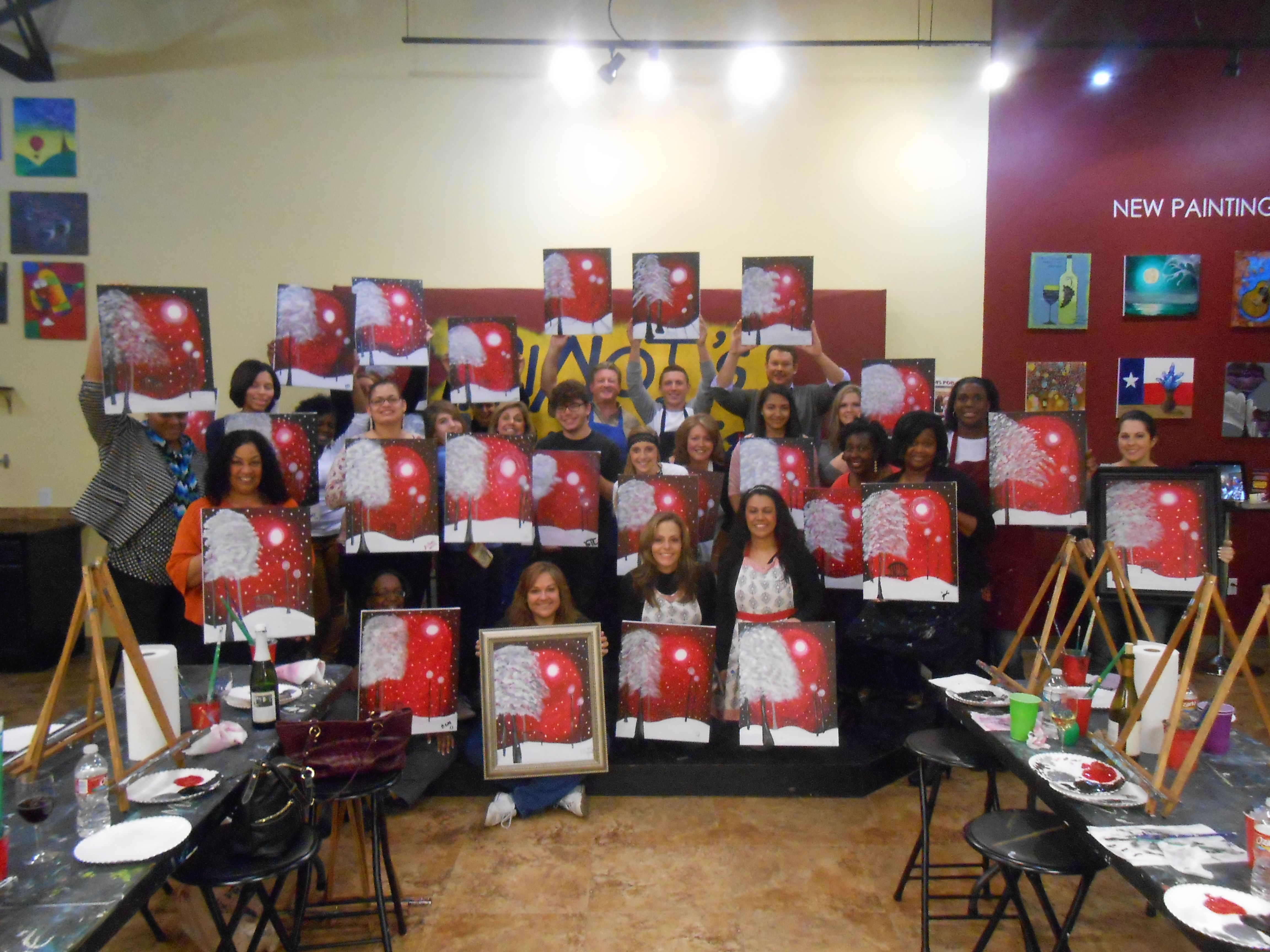 """""""Baby It's Cold Outside"""" Painting Class at Pinot's Palette The Woodlands"""