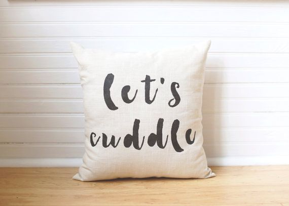Valentines Day Pillow Lets Cuddle Pillow Cover by 521handmade