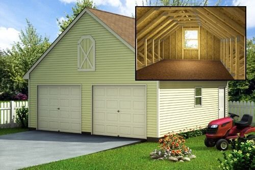 Build a 24 39 x 24 39 garage with loft diy plans fun to for Cheap garage packages