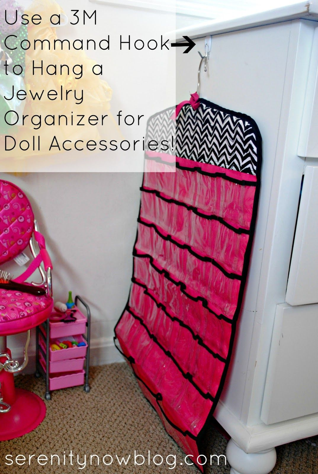 Use a 3M Command Hook to Hang a Jewelry Organizer for doll stuff