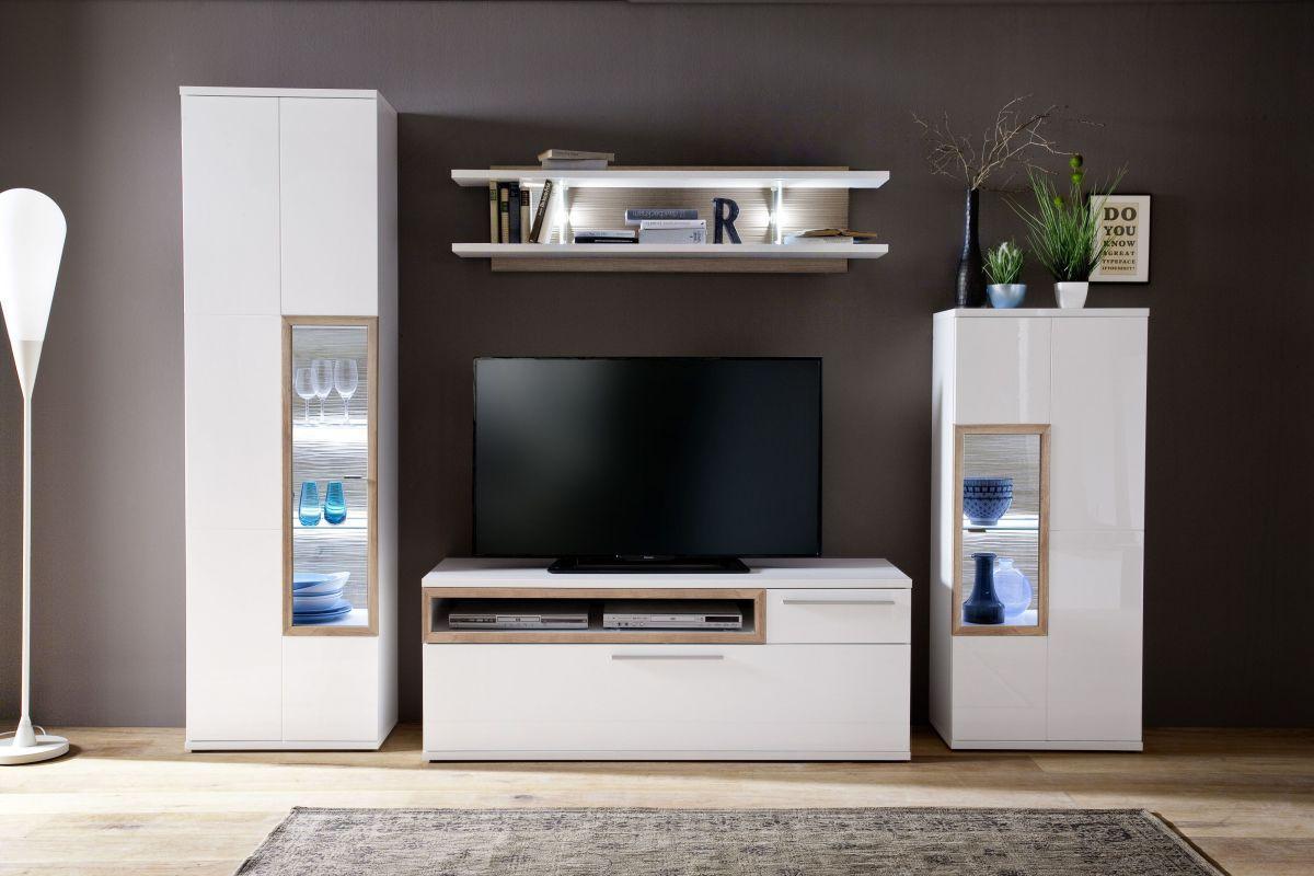 Wohnwand Weiss Hochglanz/ Riviera Eiche Mca Furniture Anolpmap Weiß Holz  Modern Jetzt Bestellen Unter