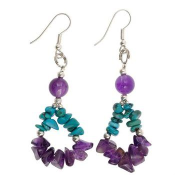 jewelry earrings Amethyst and Turquoise/-