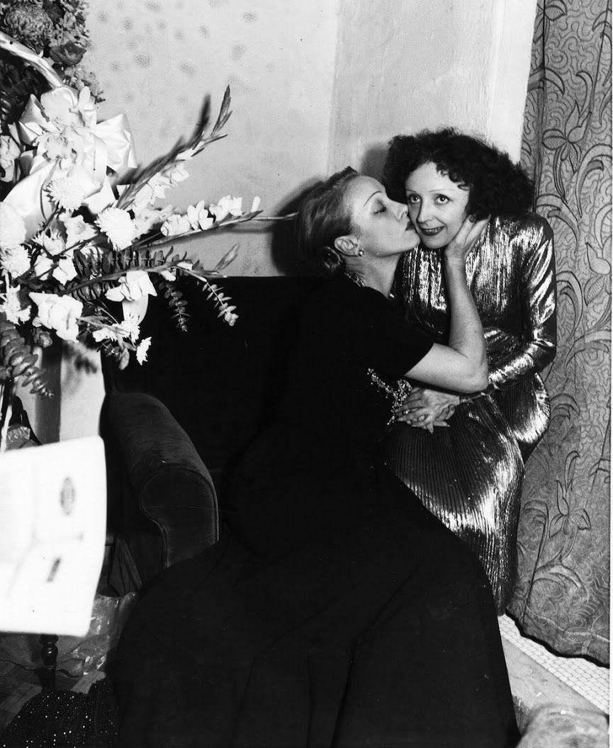 Marlene Dietrich Left Gives A Congratulatory Kiss To Chanson