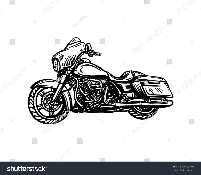 Vector Big Motorcycle Sign Symbol Hand Drawn Logo Design