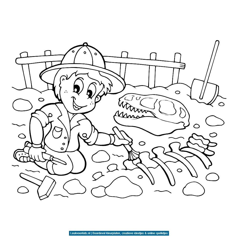 bekijk fossielen en dino skeletten 0003 kleurplaat
