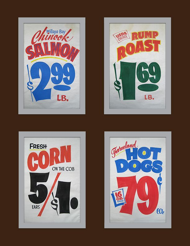 John Downer: hand-painted grocery signs | Window splash