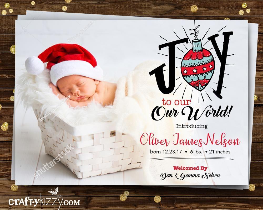 Birth Announcement Christmas Card - Joy To Our World Photo Card ...