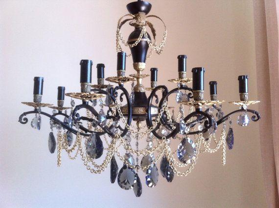 lampadario vintage 12 luci, nero e bronzo, cristalli gocce fumé ...