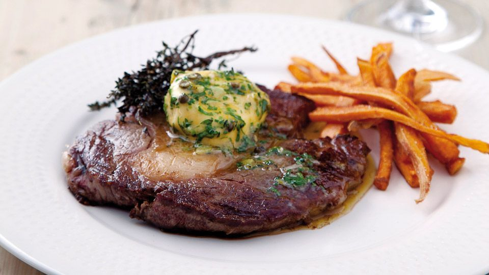 Perfect rib-eye steak recipe with herb butter and sweet ...
