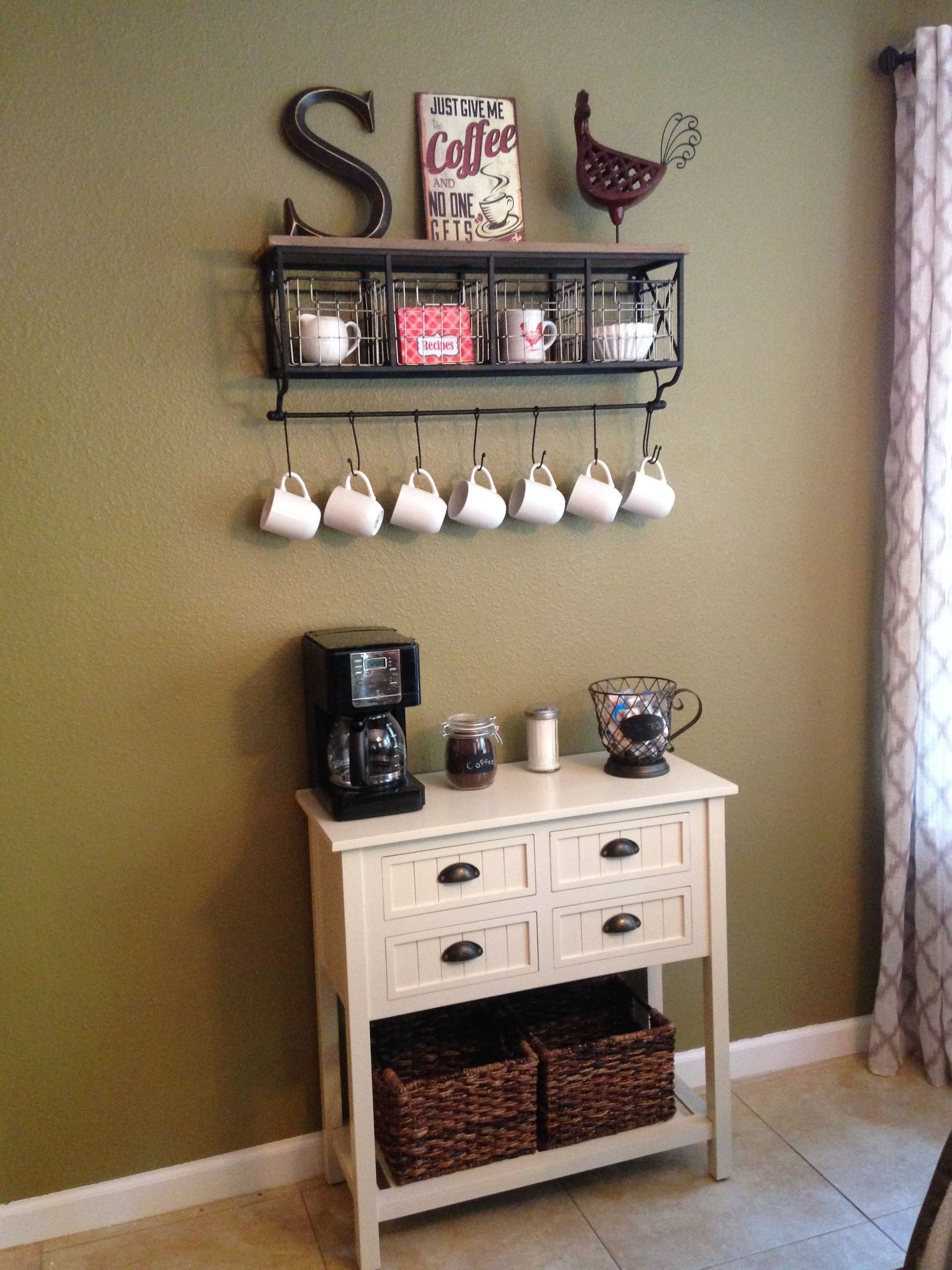 Coffee Bar Area Table From Kirklands Rack From Hobby Lobby With Images Coffee Bar Home Home Coffee Stations Coffee Decor