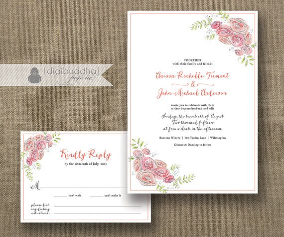 Watercolor Bloom Wedding Invitation \ RSVP 2 Piece Suite Shabby Chic - invitation unveiling