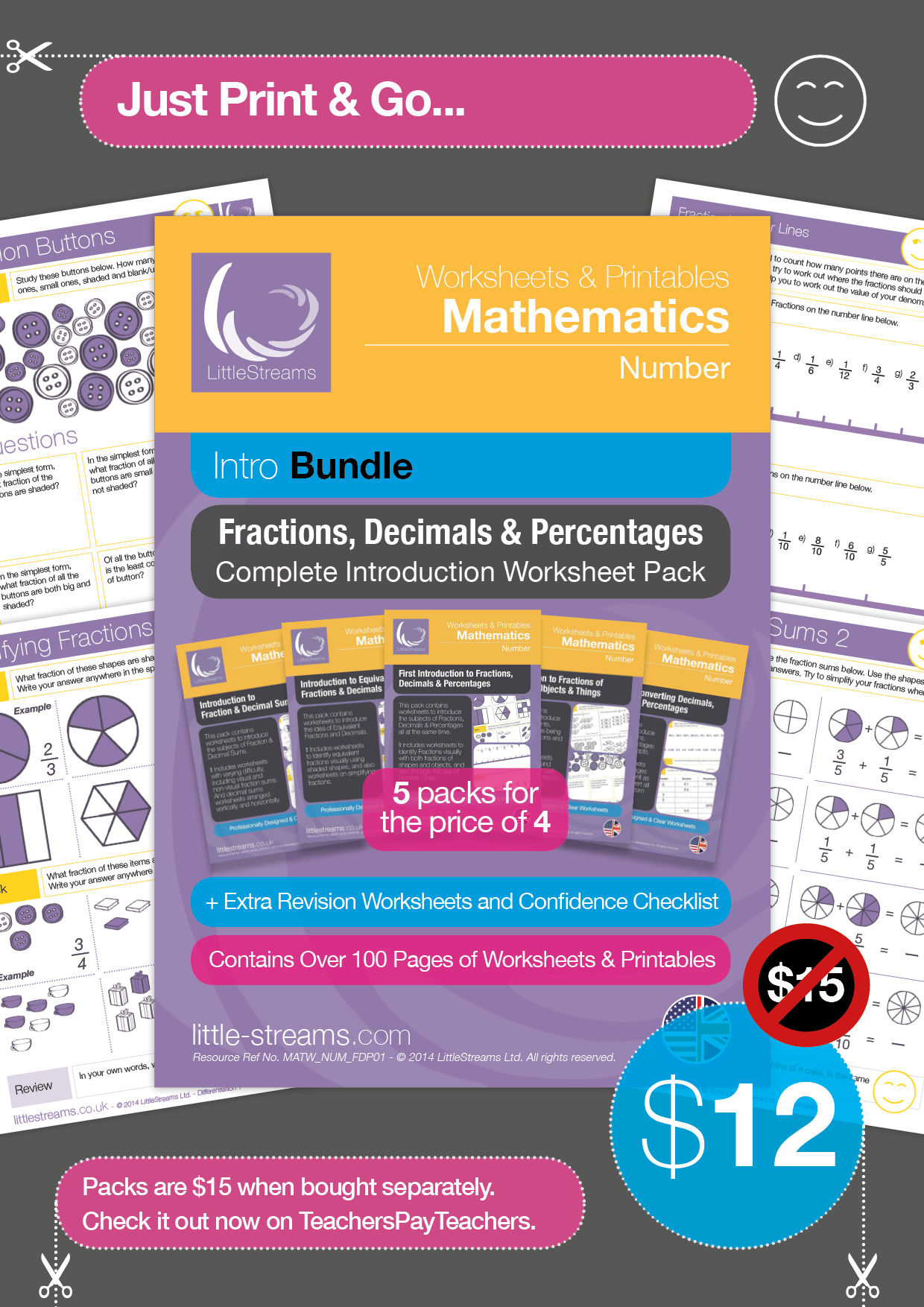 Fractions Decimals Amp Percentages Bundle Printables