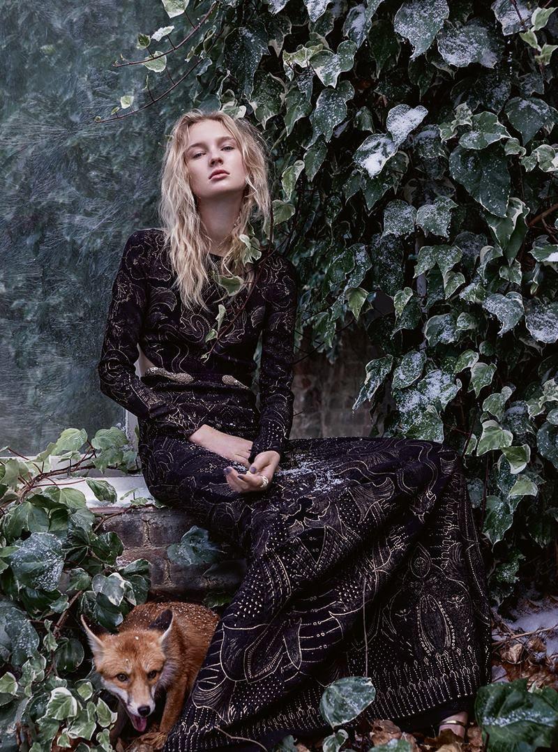 The Enchanted Forest: Nastya Sten by Agata Pospieszynska  for Harper's Bazaar UK January 2017 - Roberto Cavalli Fall 2016