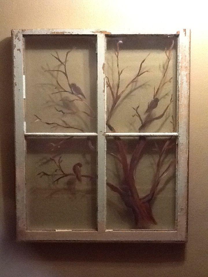 Hand Painted Tree And Bird Silhouette Vintage Window Window Painting Window Art Window Decor