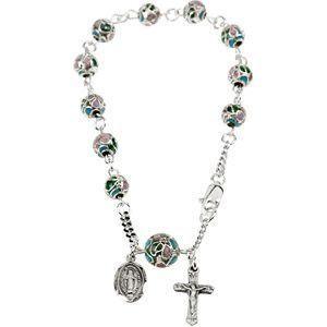 Smooth Sterling Silver Cloisonne Rosary Bracelet