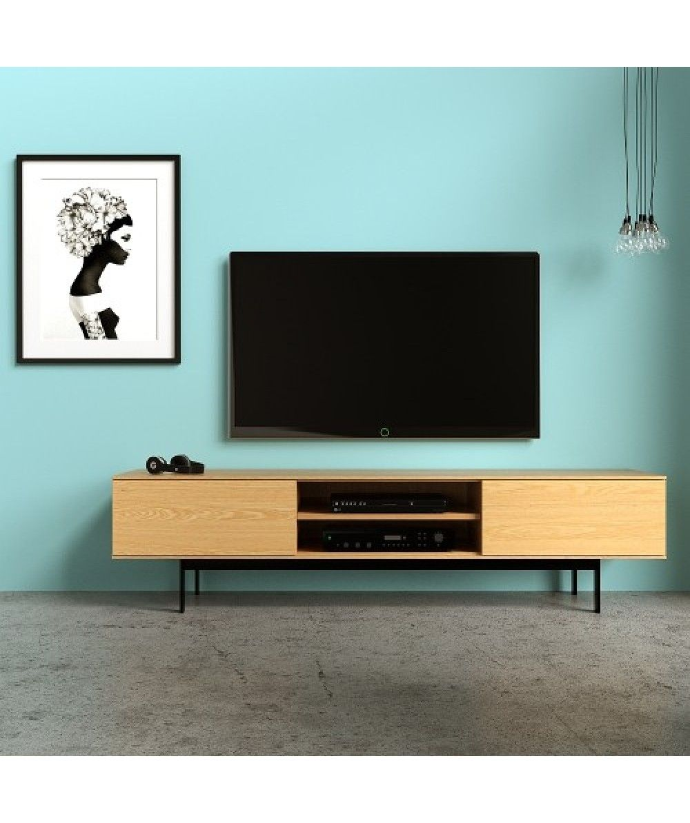 Luna 2 Door Tv Unit 180 Oak Home Office Furniture Easterly  # Meuble Tv Luna