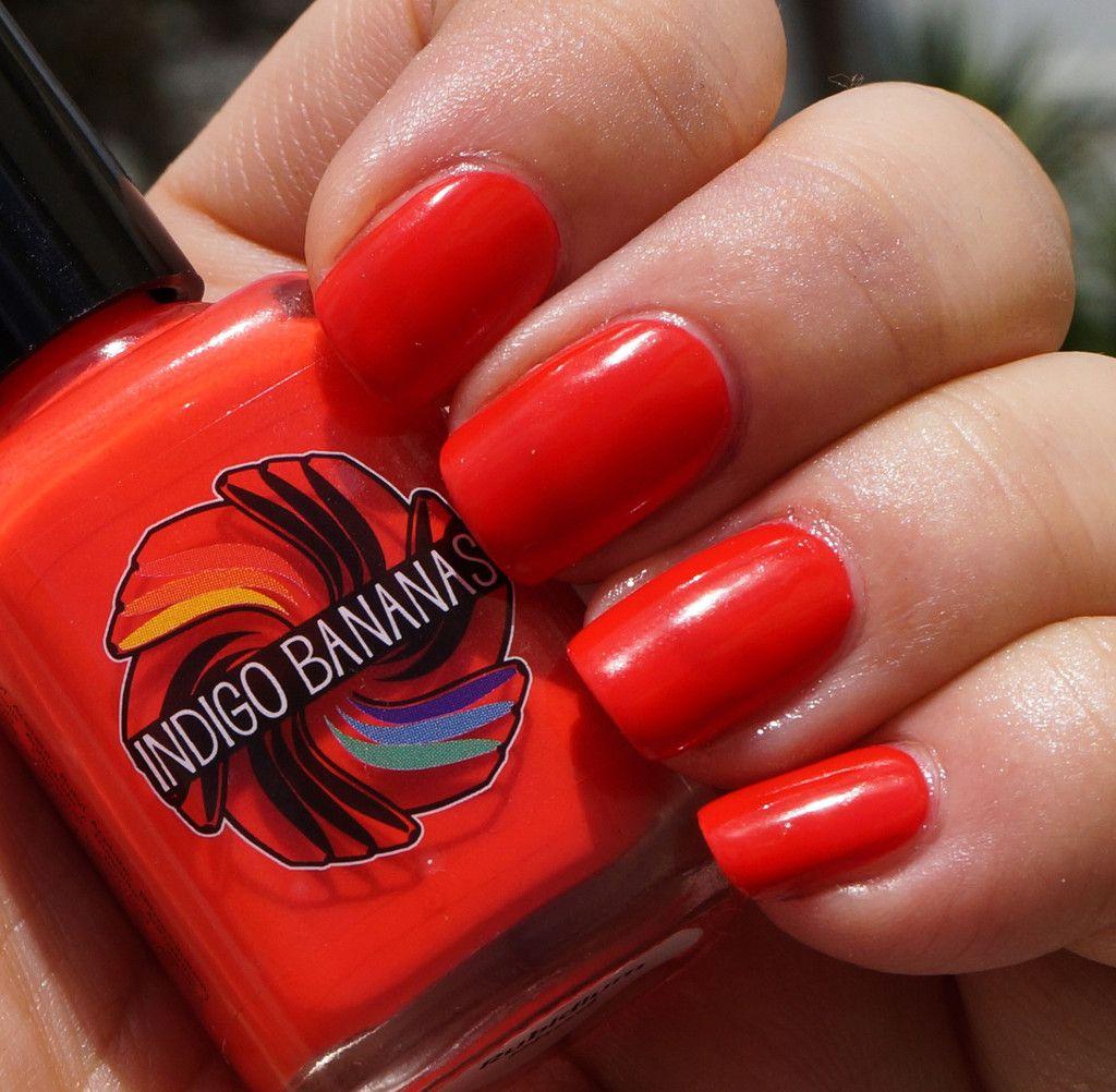 Rubidium Rhod - neon red creme, nail polish by Indigo Bananas ...