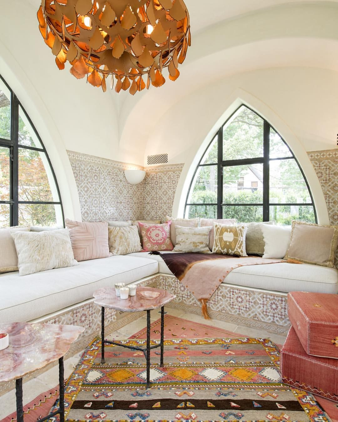 Pink Hued Sunroom In A Moroccan Inspired Dallas Tx Residence Photo By Laura Wilson Moroccan Style Interior Moroccan Interiors Moroccan Living Room #texas #themed #living #room
