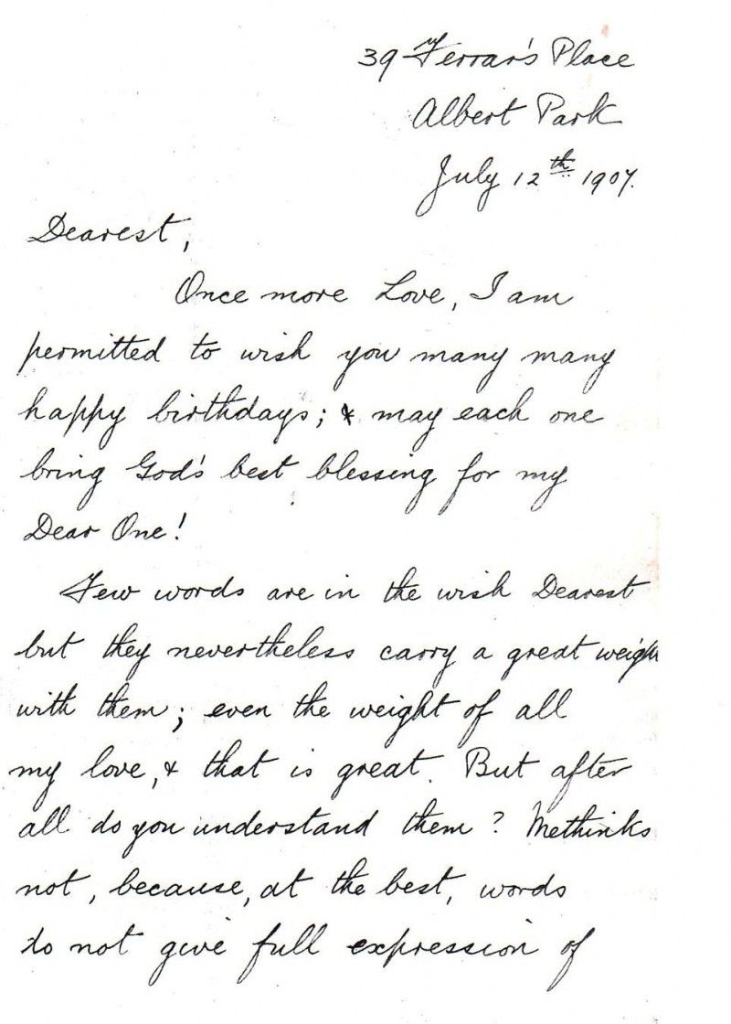 A Message of Love and Birthday Wishes, 1907. A love letter from John ...