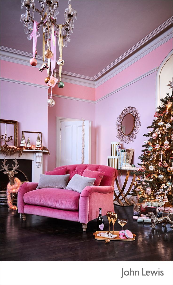 Make A Statement This Christmas With The John Lewis Ostravia Collection Add Flamboyant Flourishes With Opulent Golds T Gold Living Room Pink Living Room Decor
