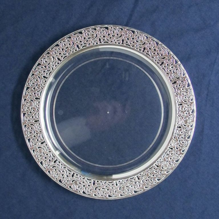 Posh Party Supplies - 10.25  Elegant Plastic Dinner Plate with Silver Trim - 10 Plastic Plates ... & 10.25