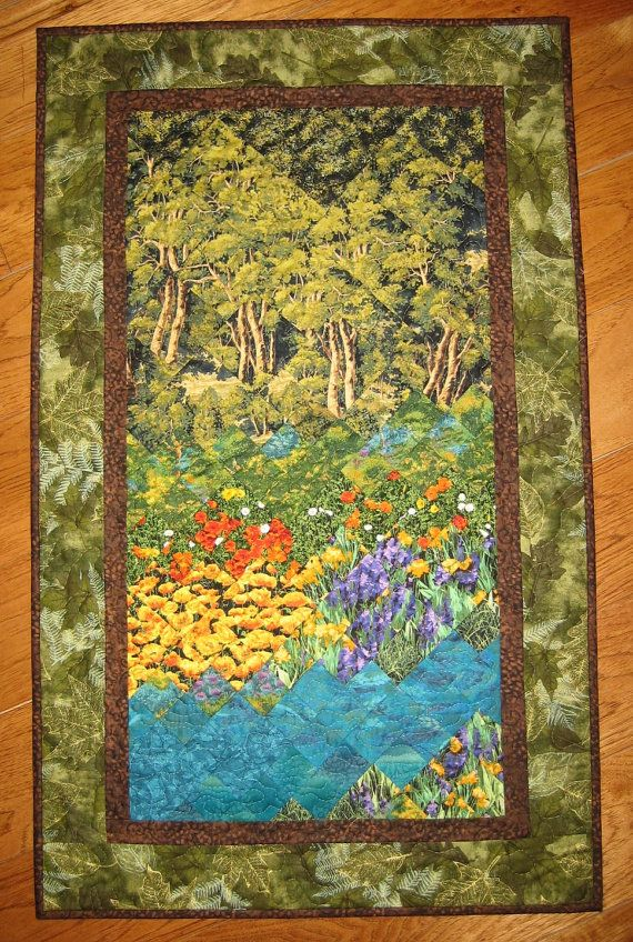 Turquoise Waters Art Quilt Fabric Wall Hanging by TahoeQuilts ...