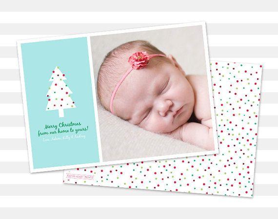 Photo Christmas Card Merry Christmas Photo $15 by paperheartprints #christmas #christmascard #holiday #holidaycard #tree #christmastree #photocard #etsy #colorful #polkadots