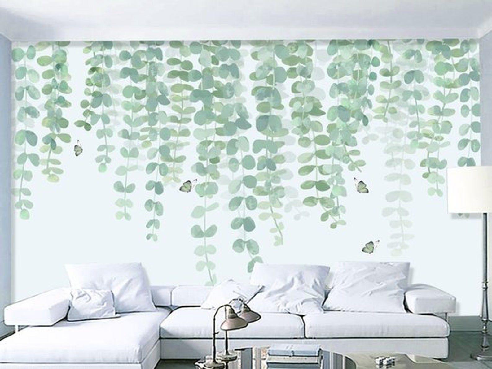 Watercolor Hand Painted Dark Green Vine Leaves Wallpaper Wall