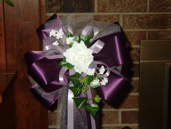 "DARK PURPLE WHITE WEDDING 8/"" PEW BOWS BRIDAL DECORATION"