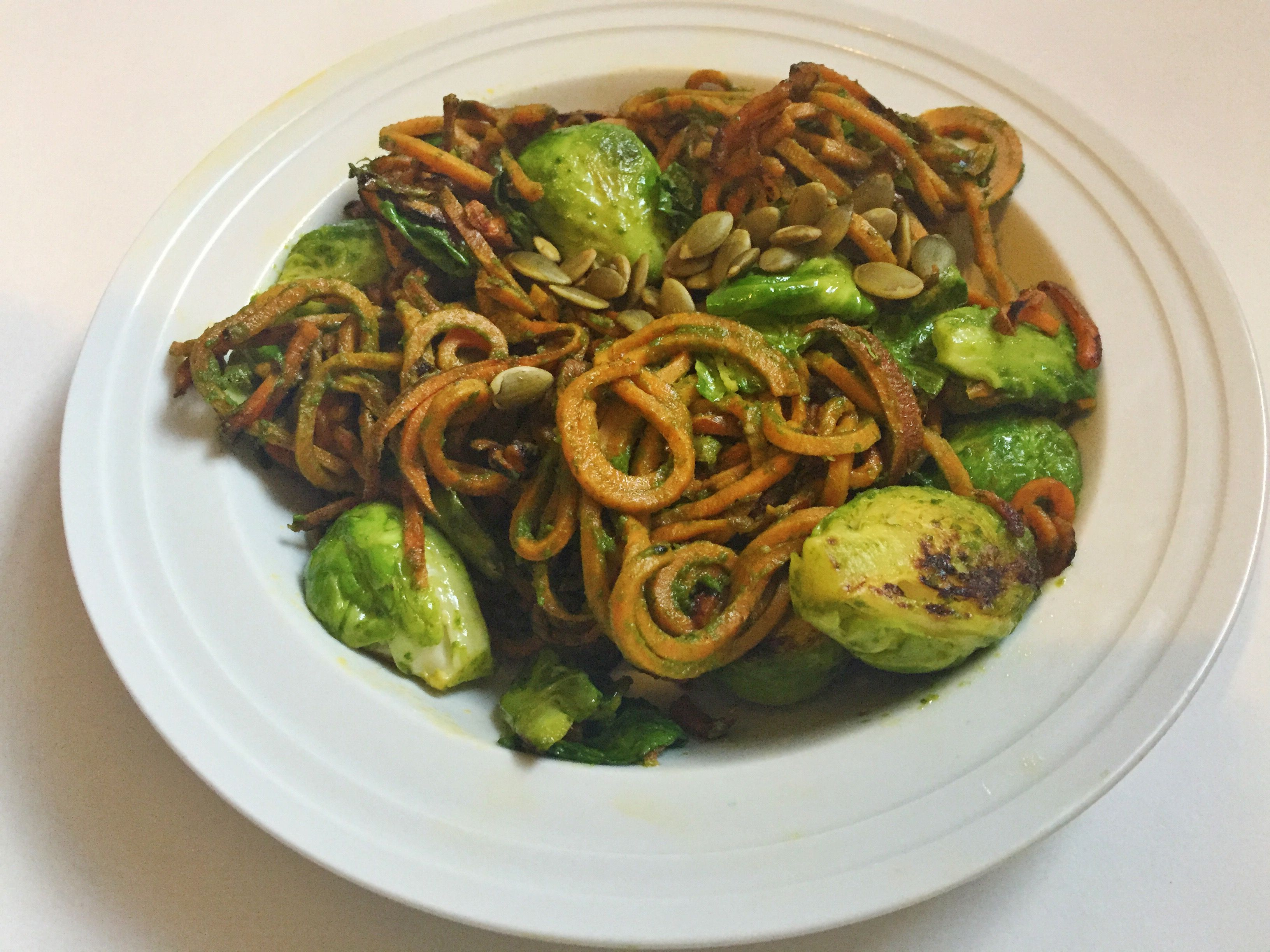 my go-to: sweet potato noodles, brussel sprouts, and