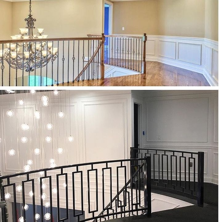 Before And After For Stairs And Great Room #blackandwhite