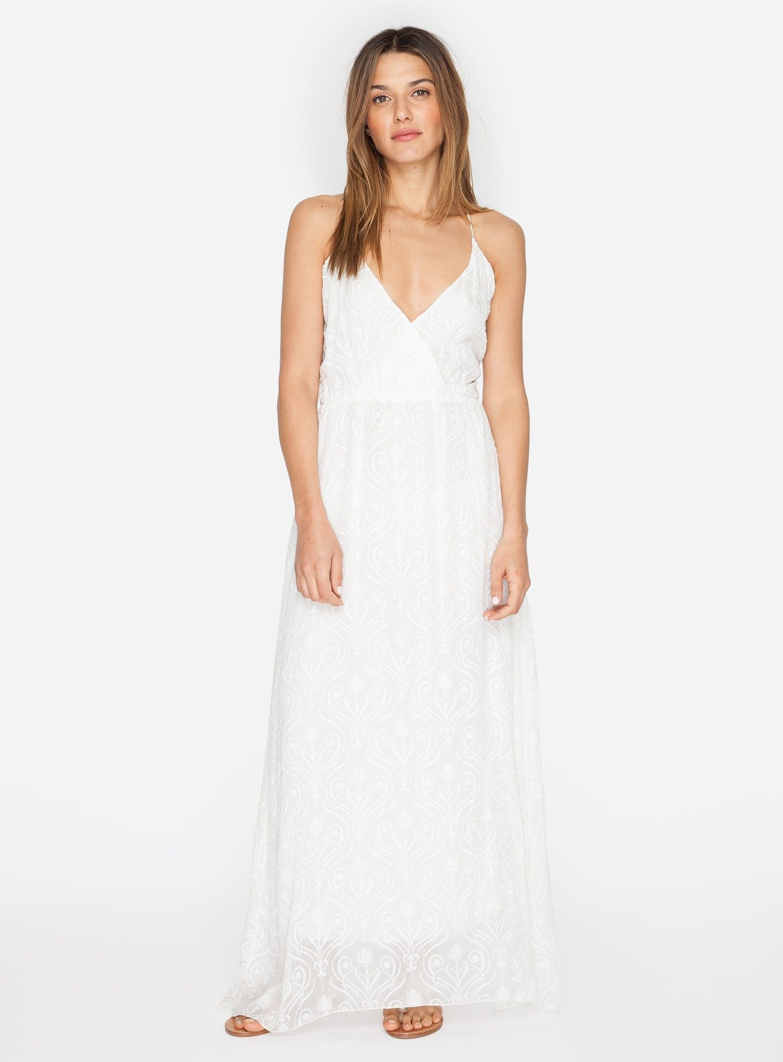 Johnny was la boheme long embroidered dress antique white playing