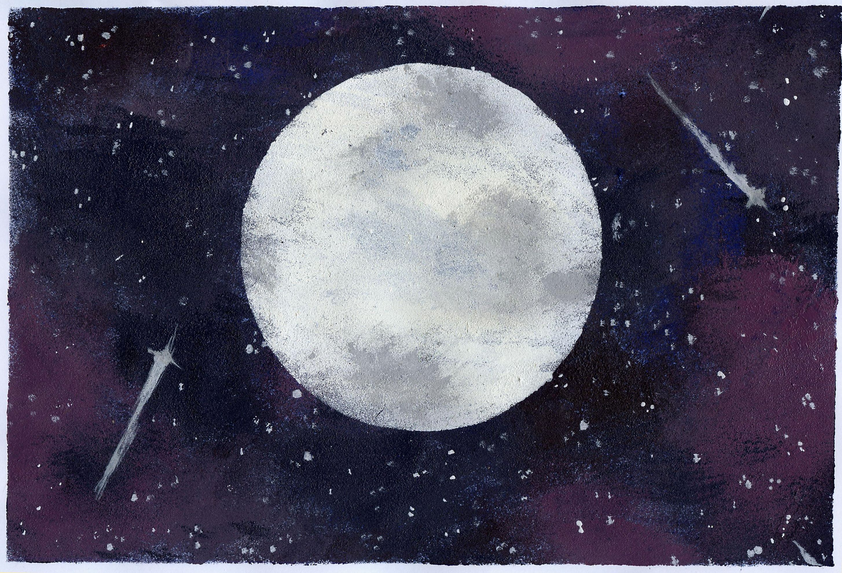 Mond Moon Weltraum Space Galaxie Planet Zeichnung Drawing