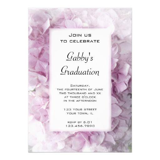 Pink Hydrangea Graduation Party Invitation 2017 Graduation