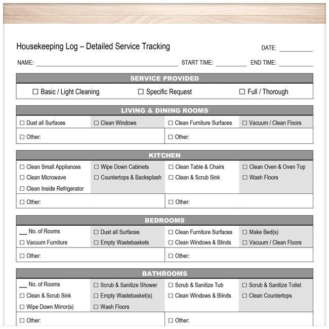 Housekeeping Log - Detailed Cleaning Service Tracking - Printable - invoice services