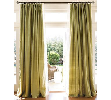 Letting The Light In Through Sage Dupioni Silk Drapes From